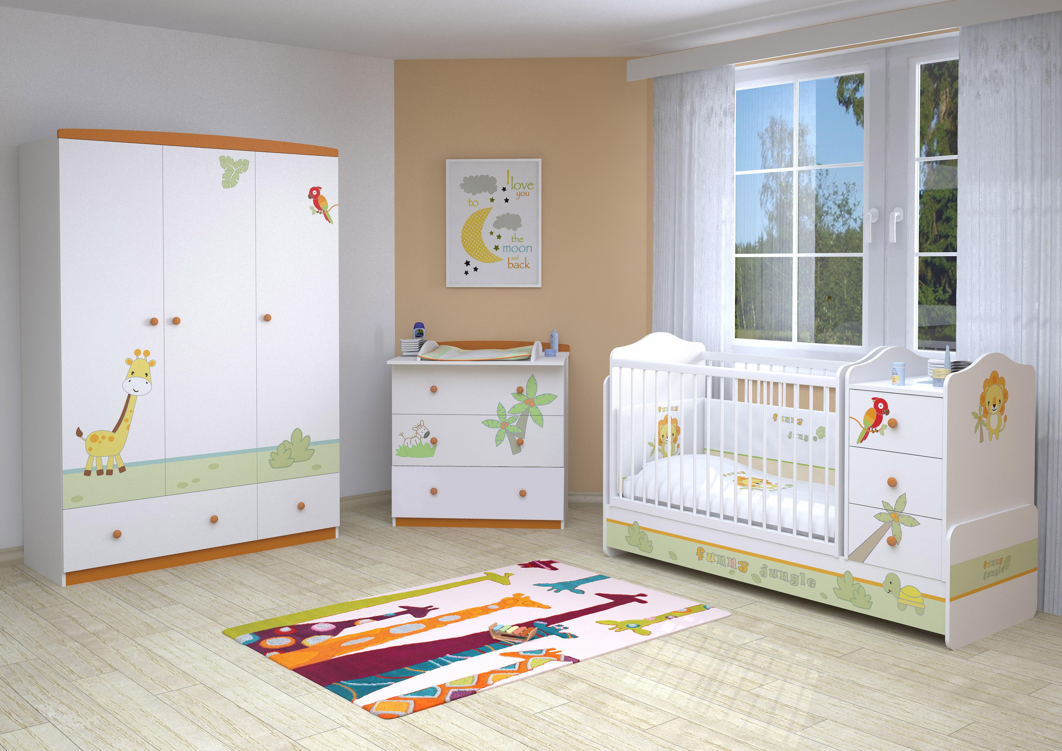 Polini Kids 0001188-1 Kinderkleiderschrank Basic Jungle 3-t/ürig mit zwei Schubladen