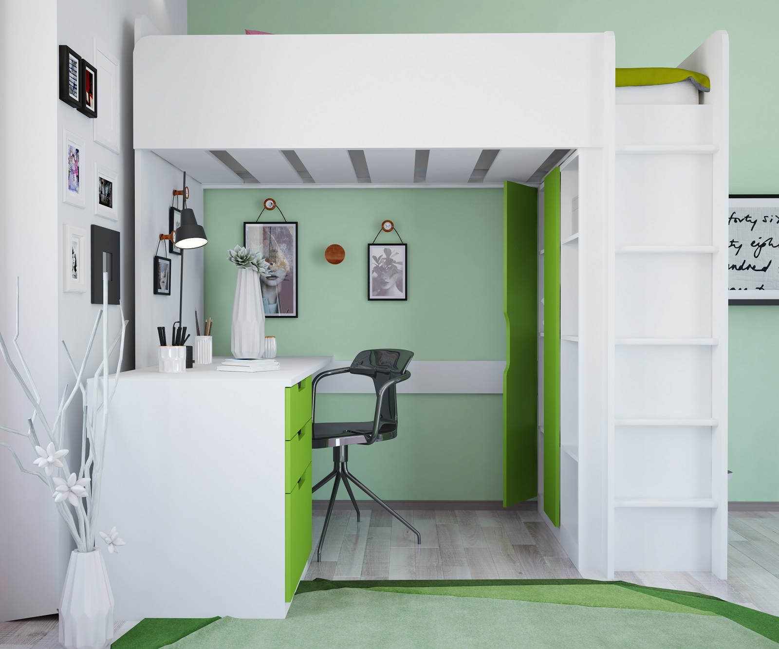Details zu Polini Kids Kinder Hochbett mit Kleiderschrank Regal und  Schreibtisch 5 in 1 Set
