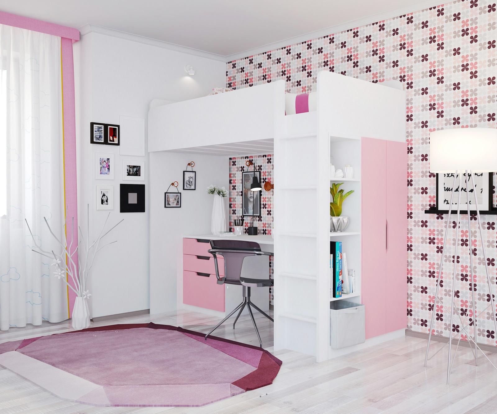 polini kids kinder hochbett mit kleiderchrank regal und. Black Bedroom Furniture Sets. Home Design Ideas